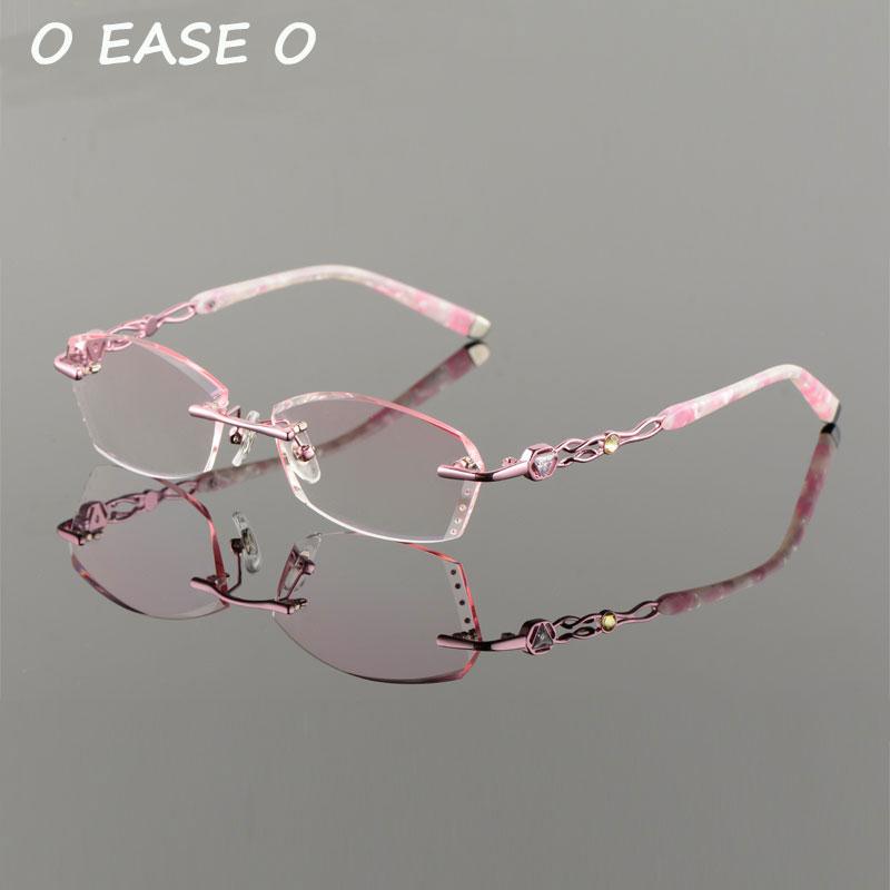 61 Einschließlich 1 Getönte purpurrot Neue Randlose Hmc silber Asphereic Koreanische Uv400 2017 Optische Titan Rosa 58101 Emi Rahmen Frauen Brillen Objektiv Y8qdC