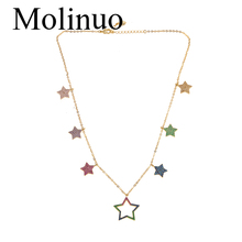Molinuo New fashion colorful cute pave cz stars link chain necklaces for women geometric charm delicate girl gift 2019