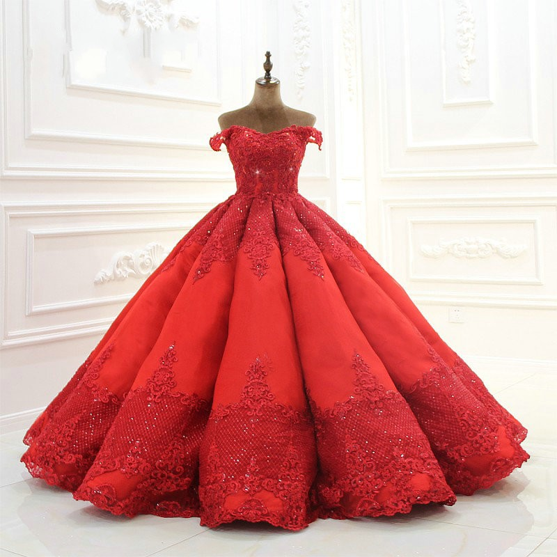 Appliqued   Evening     Dress   abendkleider Puffy Formal Gowns Red Long   Evening     Dresses   abiye robe de soiree Dubai   Evening   Gown Beads