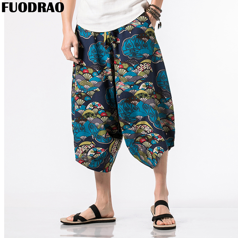 FUODRAO Pants Men Vintage Jogger Original Streetwear Summer Calf-Length Harajuku F042