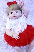 цена 55cm Full Silicone Reborn Girl Baby Doll Toys Like Real Newborn Princess Babies Doll Birthday Gift Girls Bonecas Bathe Toy онлайн в 2017 году