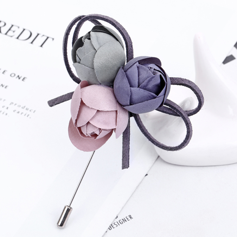 XIYANIKE Colorful Cloth Flower Pin Brooch For Women Elegant Fashion Corsage Vintage Jewelry Accessories Birthday Gift JBSW32