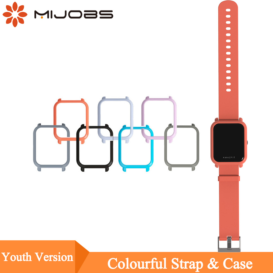 Mijobs 20mm Wrist Strap Hard Plastic PC Shell Protective Case Cover for Xiaomi Huami Amazfit Bip BIT PACE Lite Youth Smart Watch mijobs 20mm silicone wrist strap protective case cover plastic pc shell for huami xiaomi amazfit bip bit pace lite smart watch