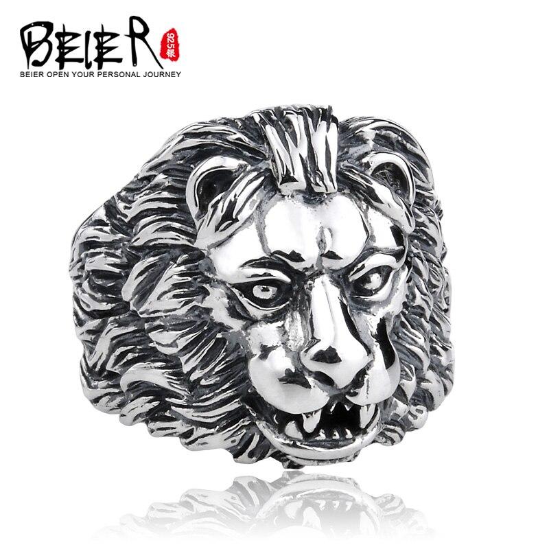 Beier 925 argent sterling jewelry2015 rock mans anneau de vélo nouveau style offre spéciale tête de lion bague homme D0614