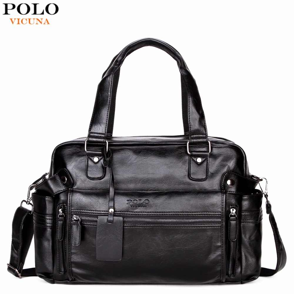 VICUNA POLO Large Capacity Men Leather Travel Bag Casual High Quality With  Front Pocket Luggage Duffle fdfb0e45b53c9