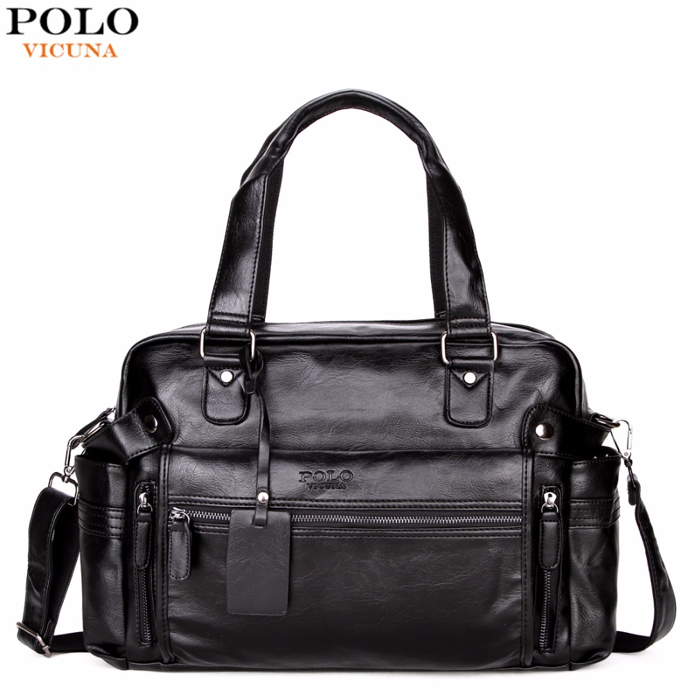 VICUNA POLO Large Capacity Men Leather Travel Bag Casual High Quality With Front