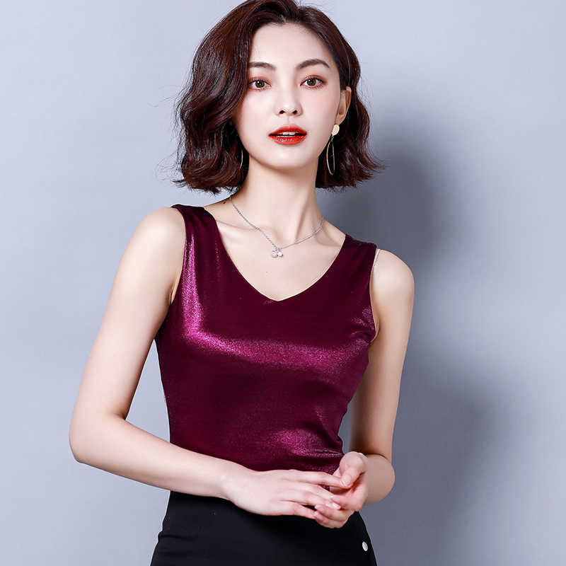 Top women Summer V Neck Chiffon Vest Sleeveless Casual Blusas Tank Tops Silk Patchwork T Shirt Bottom Camisole 2019 New White