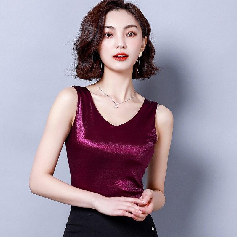 Top   women Summer V Neck Chiffon Vest Sleeveless Casual Blusas   Tank     Tops   Silk Patchwork T Shirt Bottom Camisole 2019 New White