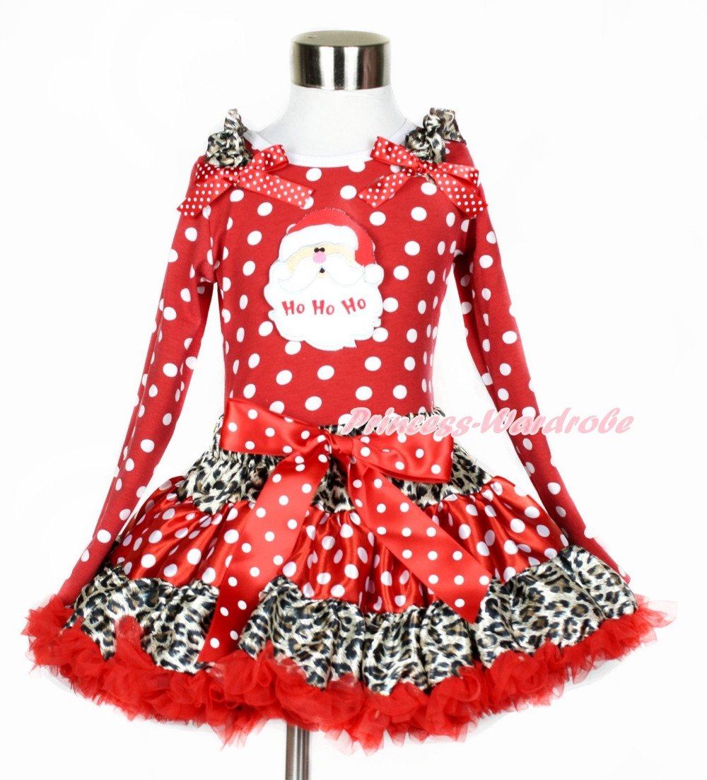 Xmas Leopard Minnie Dot Red Pettiskirt, Santa Claus, Minnie Dot Long Sleeve Top with Leopard Ruffles and Minnie Dot Bow MAMW369 my 1st christmas santa claus white top minnie dot petal skirt girls outfit nb 8y