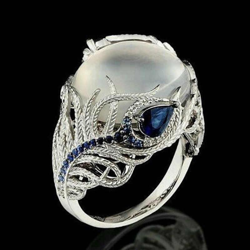 แฟชั่นผู้หญิงเครื่องประดับแหวนนกยูง feather คริสตัลโอปอล micro ชุดแหวนออกแบบแหวน 2019 ผู้หญิง's ปาร์ตี้วันหยุดแหวน gif