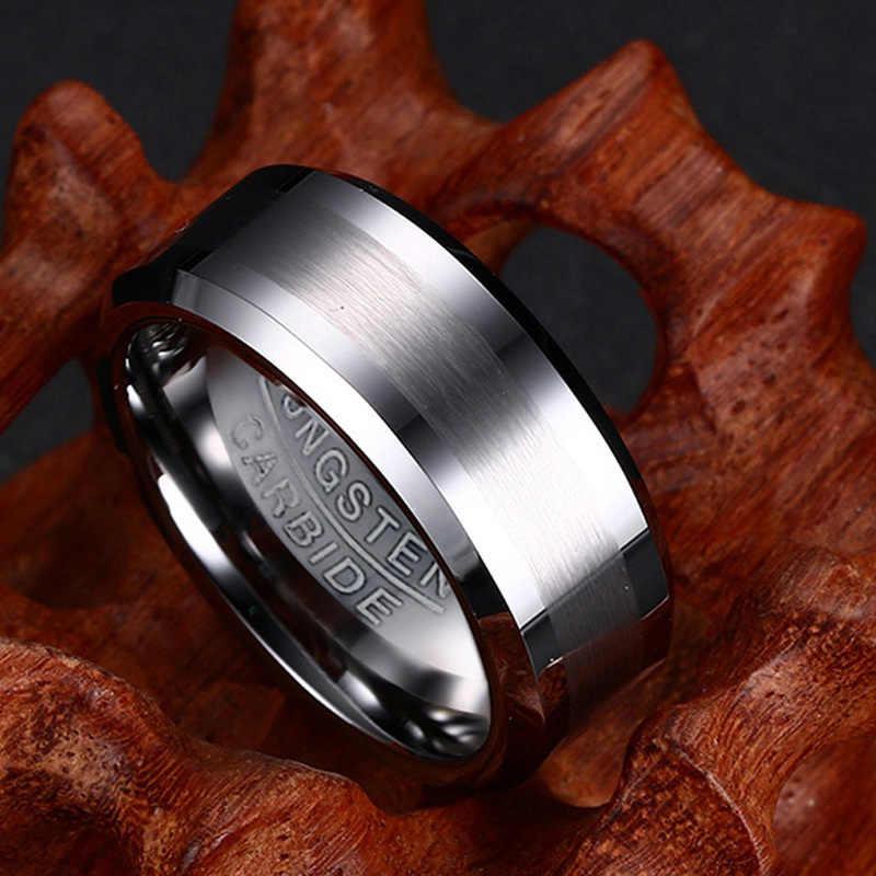 Meaeguet 8 มม.100% แหวนทังสเตนคาร์ไบด์สำหรับผู้ชายแหวนแต่งงานแหวนทังสเตนไม่เคยสนิม