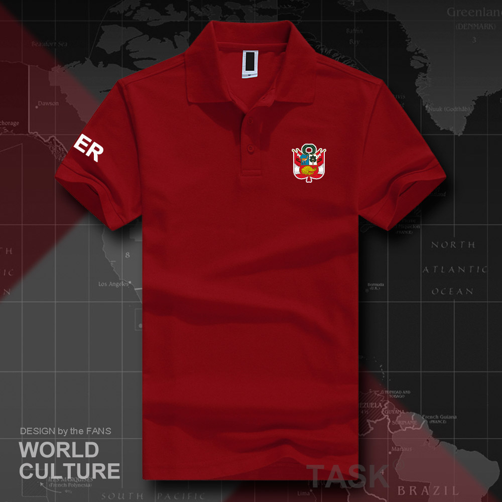 Peru Peruvian PE PER   polo   shirts men short sleeve white brands printed for country 2018 cotton nation team flag new fashion 20