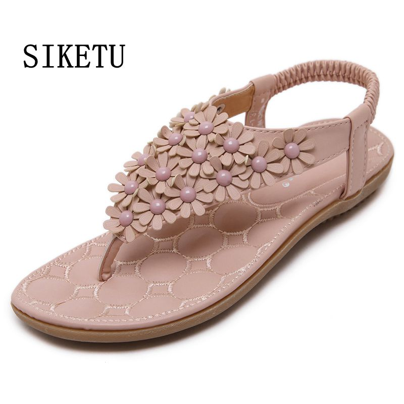 SIKETU Summer new women flat sandals Bohemia casual comfortable woman flip flops sandals soft bottom large size beach shoes40 41 woman shoes flip flops sandals foam zapatos mujer ladies shoe summer wedge high heels bohemia beach flip flop casual sapatos new