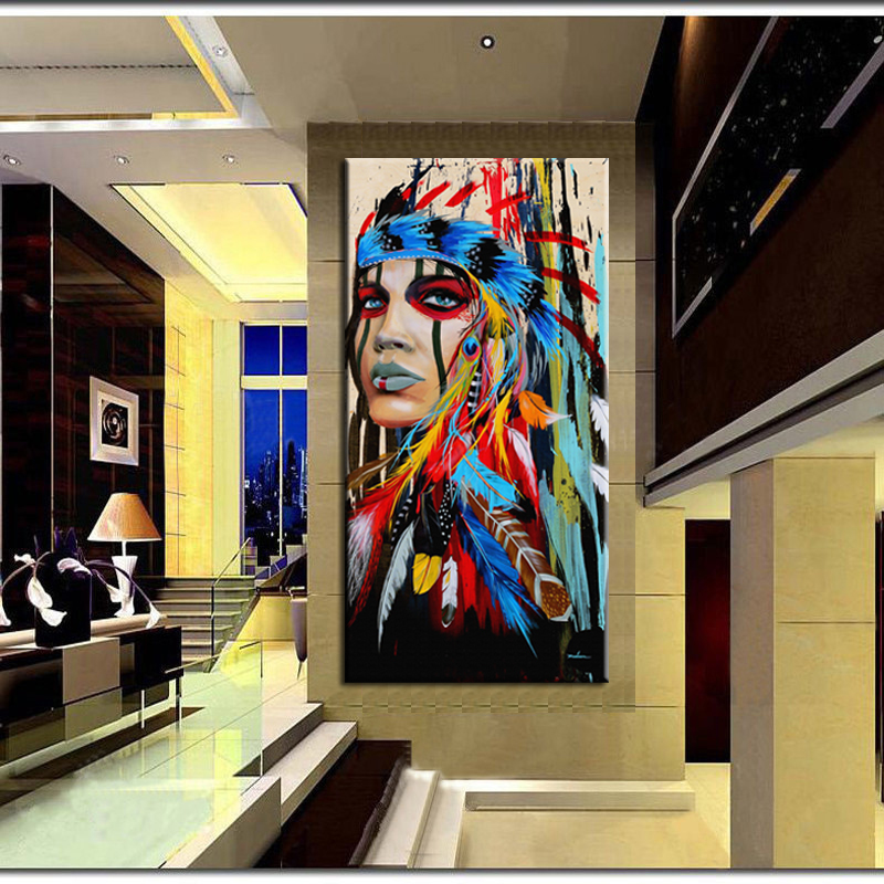 Buy watercolor portrait canvas art wall - Wall pictures for living room india ...