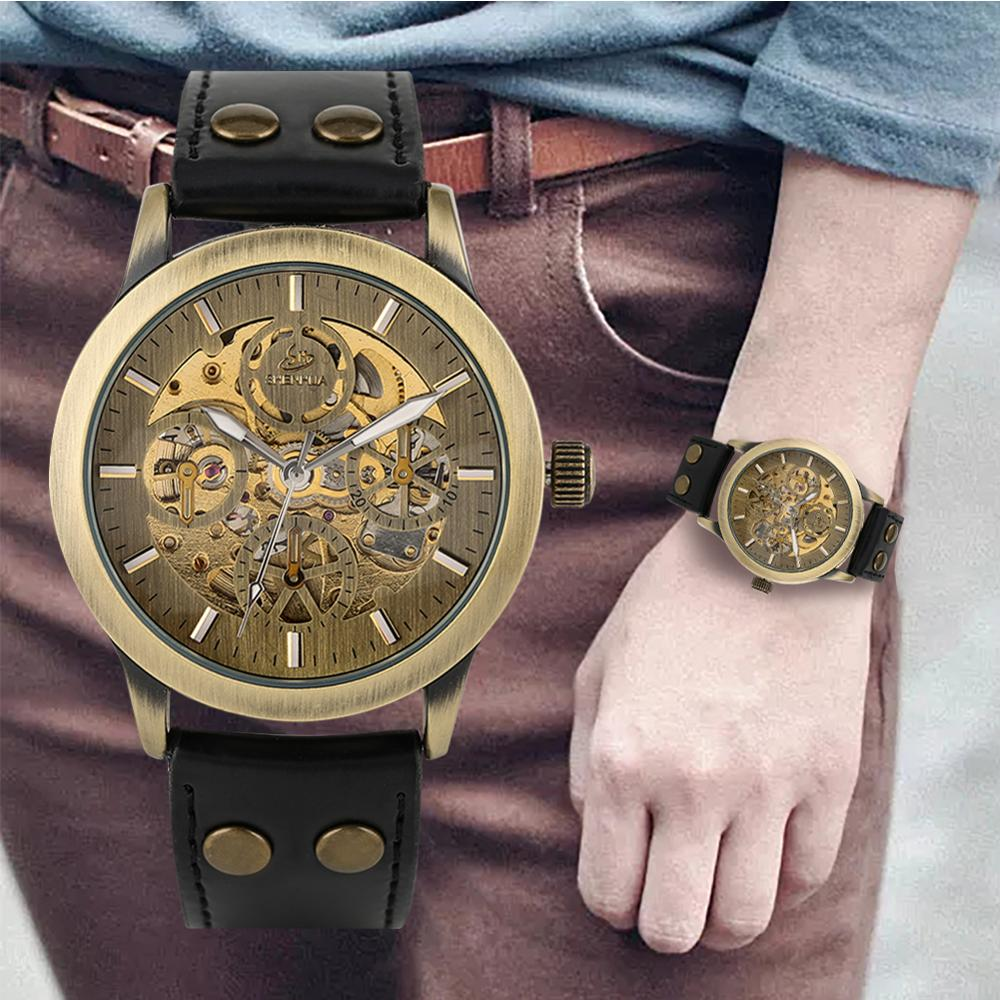 Men's Watch Automatic-self-winding Mechanical Wristwatch Luminous Function Leather Strap Mens Watches Top Brand Luxury Automatic
