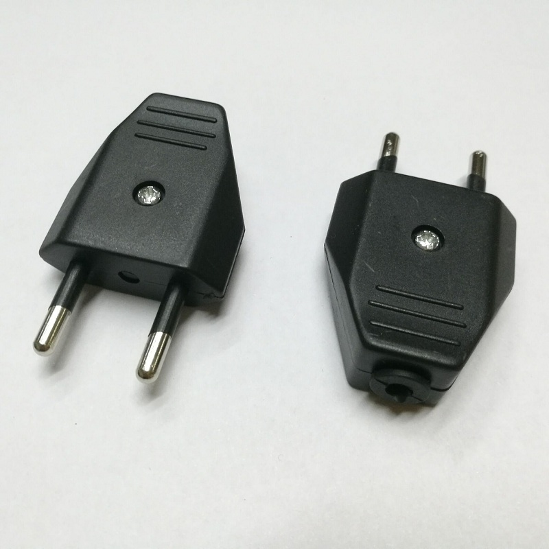 European standard two round 2pin power plug 10A wiring assembly EU plug French socket 20pcs enchufe de dos clavijas