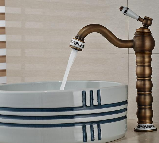Tall Faucet Retro Style Bathroom Sink Basin Faucets hot and cold water taps Antique Brass Single Ceramics Handle mixer tap chinese ceramic style gold color brass bathroom faucet basin faucets lavatory sink mixer tap single handle cold hot water faucet
