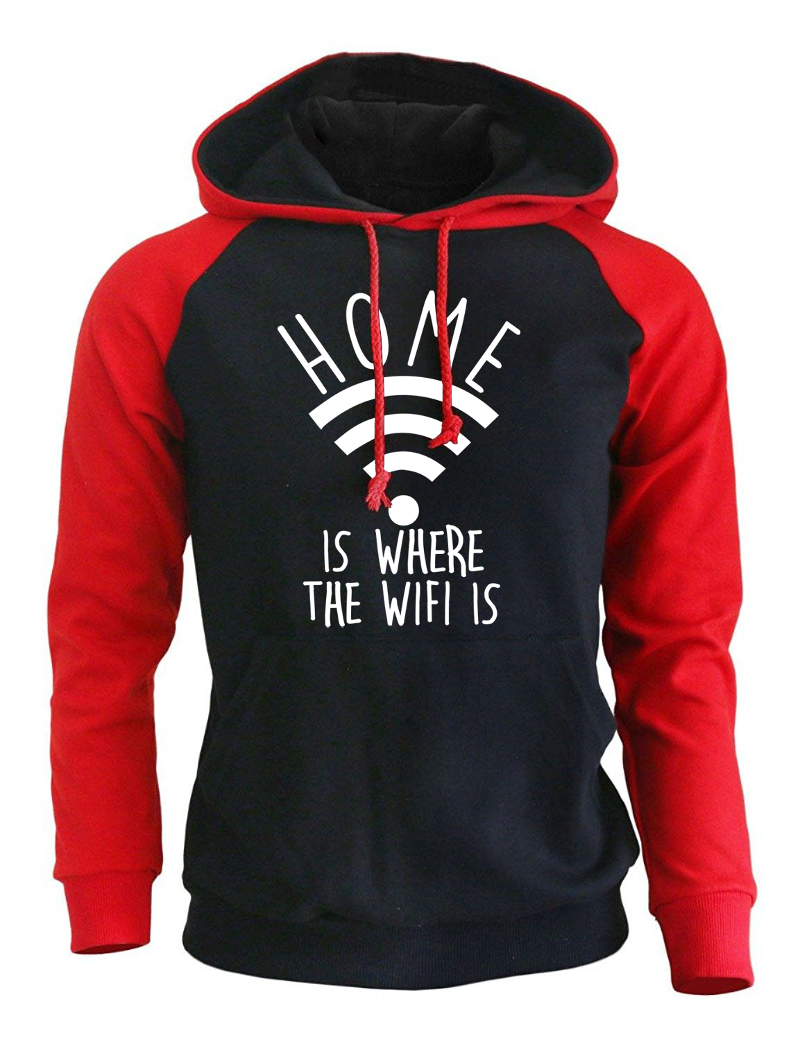Funny Hoody For Men Print Home Is Where The Wifi Is Streetwear Harajuku 2017 Autumn Winter Fleece Raglan Sweatshirts Brand Punk