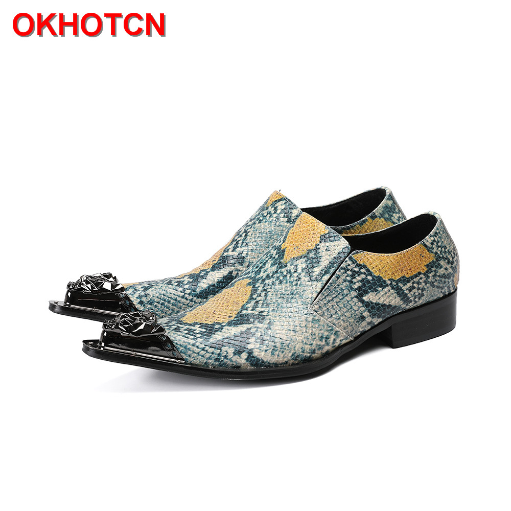 Snake Grain Print Genuine Leather Men Shoes Metal Pointed Toe Wedding Party Oxfords Flats Shoe Men Fashion Business Dress Shoes top italian style real full grain leather qshoes shoe mens business men man dress casual fashion pointed toe shoes yo8538 128