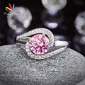 Peacock Star Twist Curl 925 Sterling Silver Wedding Engagement Ring 1.25 Ct Fancy Pink Created Diamond Anniversary CFR8244