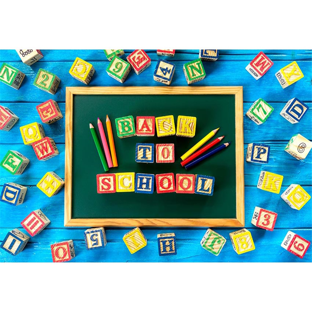 Blue Wooden Board Photography Background Blackboard With Colourful Small Wooden Blocks And Pencils Backdrop For Classrooms Decor