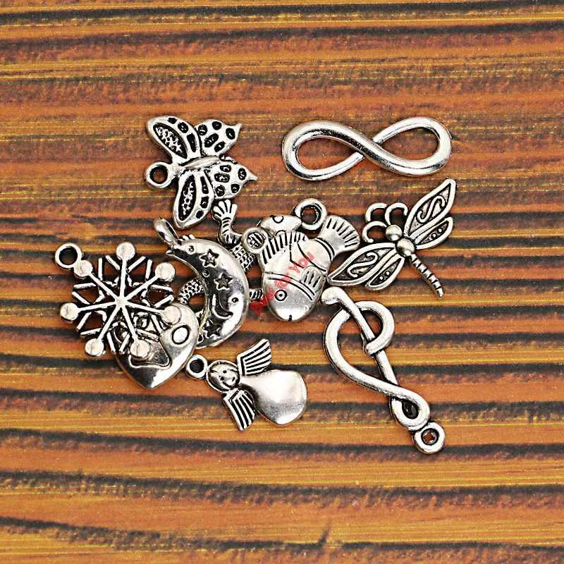 Mezcla mariposa tibetana de plata copo de nieve Luna corazón Ángel encanto colgantes joyería Diy accesorios hechos a mano