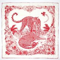 MAGNOLIA Retro 90 * 90CM Scarf Luxury Brand Designer Jungle Cheetah Large Square Scarf For Women Neck Scarf silk hijab