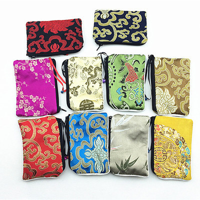 Handicraft Small Bells Zipper Coin Pouch Chinese Silk Jewelry Pouch Gift Bag Women Credit Card Holder Mini Bag 50pcs/lot