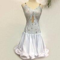 New Latin Dance Dresses Competition Performance Salsa Dress Kids Girls White Sexy Rhinestones Backless Fish Bone Curling Skirt