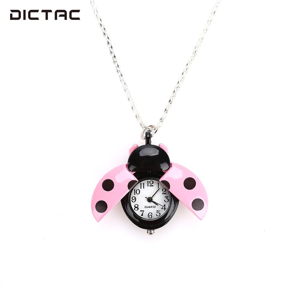 Fashion Beetle Watch Fob Watch Gifts Pendant Necklace Alloy Pocket Watch Ladybug