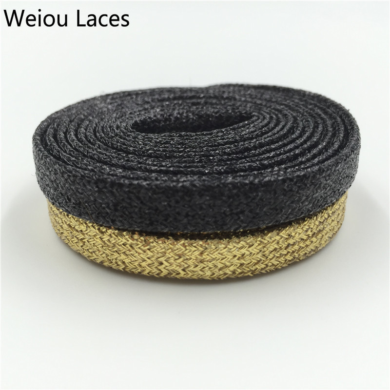 (30 Pairs/Lot) Weiou Sport Golden Black Metallic Yarn Shoelaces Gold Flat Laces For Outdoor Climbing Trainer Laces Wholesales new woman pink flat shoelaces trainer sport boot shoe laces 2 pairs