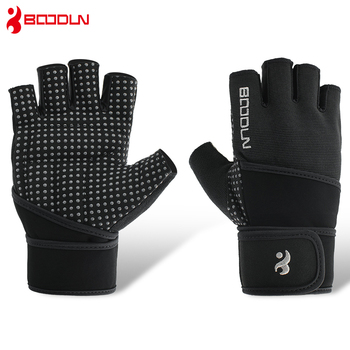 Boodun Men Women Gym Gloves Crossfit Fitness Gloves Extend Wristband Bodybuilding Barbell Dumbbell Weight Lifting Gym Equipment titanium stainless steel fitness gym necklace weight plate barbell dumbbell weightlifting bodybuilding crossfit exercise jewelry