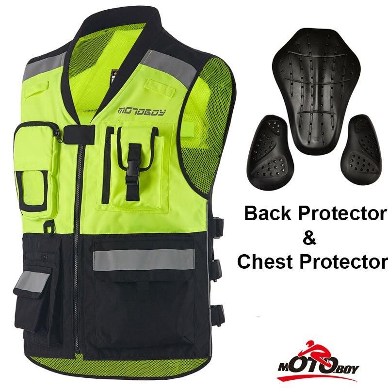 MOTOBOY Moto veste Visible Réfléchissant Avertissement Gilet Moto Racing Vêtements avec protecteurs