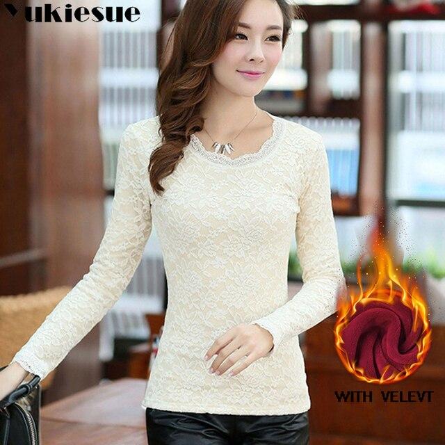 sexy white lace blouse shirt Women tops elegant winter warm fleece blouse Summer tops female blouse long sleeve blusas Plus size 2