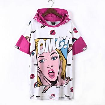 JUST.BE.NEVER graffiti OMG cartoon funny long T-shirt hooded hip hop style hippie tops kawaii harajuku graphic tees ICE CREAM