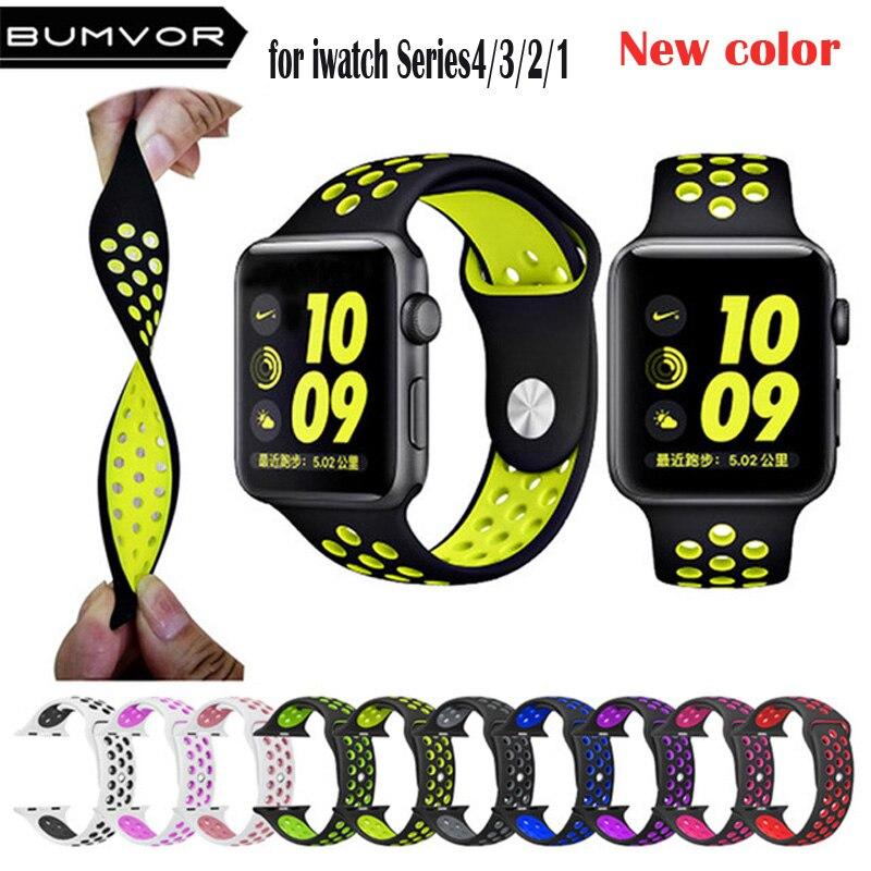 Nieuwe Ademende Siliconen Sport Band voor Apple Horloge 4 3 2 1 42 MM 38 MM rubber strap bands voor nike + Iwatch 4 3 40mm 44mm