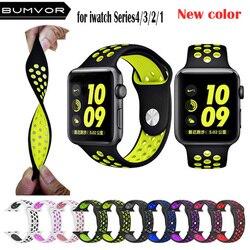 Nova Respirável Esportes Silicone Relógio Banda para Apple 4 3 2 1 42 MM 38 MM pulseira de borracha bandas para nike + Iwatch 4 3 40mm 44mm