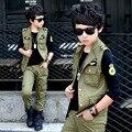 3 peças T-shirt + Colete + Calça Boy Exército Verde Define Criança Roupas de Primavera