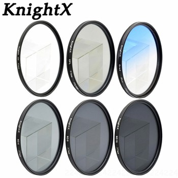 KnightX 49 52mm 58MM 67MM 72MM 77MM Gradual blue sky color FILTER UV MC FLD LENS FILTER for Canon EOS 1200D 750D 700D 600D Lens