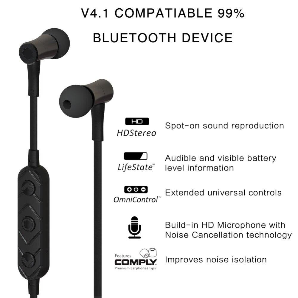LYMOC Беспроводной Спорт стерео гарнитура Bluetooth наушники V4.1 Шум изоляции Magent зал переключатель микрофоном гарнитура для iPhone Android