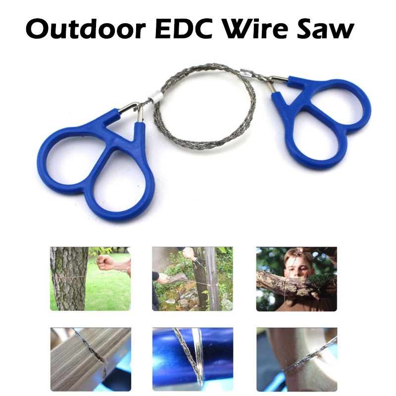 Outdoor Pocket Saw Wire Camping Hiking Travel Emergency Survive Tool Stainless Steel Wire Kits With Finger Handle For Cutting