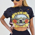 Guns n 'roses обрезанные топ женщин футболки с коротким рукавом отверстия выдалбливают черный punk rock сексуальная тис футболки плюс размер Летом 2017