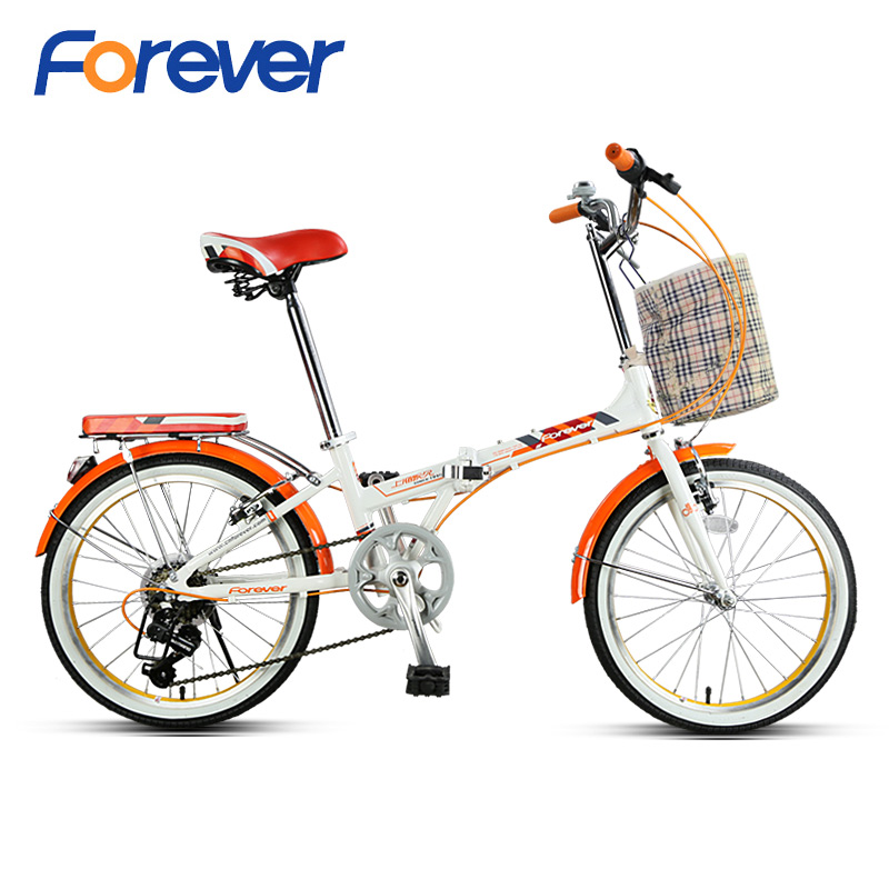 FOREVER Folding Bicycle 20* 1.75 Fat Tire Bike Dual V Brake Al Alloy Frame City Bikes For Men Women 7 Speed 20in Students Cycles