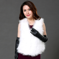New 2017 Hot Sale Women Winter Encryption 100 Natural Ostrich Feathers Turkey Feather Fur Vest Fur