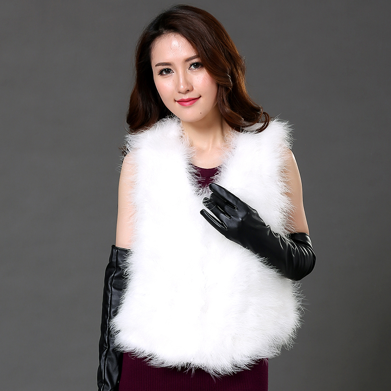 New 2017 Hot Sale Women Winter Encryption 100 Natural Ostrich Feathers Turkey Feather Fur Vest Fur