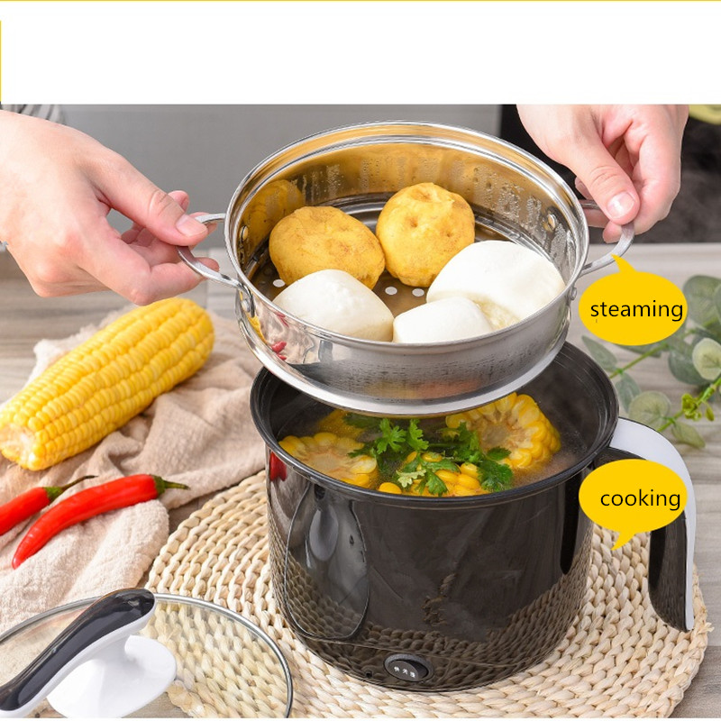 220V 1.2L/1.8L Multifunction Electric Cooking Pot Machine Single/Double Layer Available Hot Pot Multi Cooker EU/AU/UK/US Plug