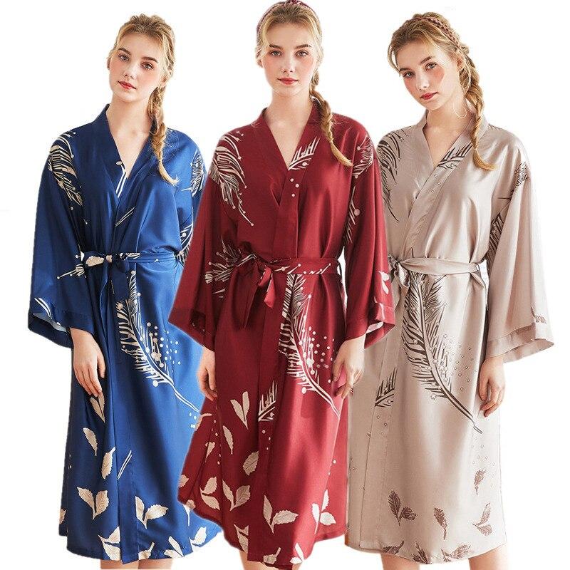 Fashion Lady Summer Mini Robe Chinese Women's Silk Rayon Bath Gown Short Yukata Nightgown Sleepshirts Pijama Mujer One Size