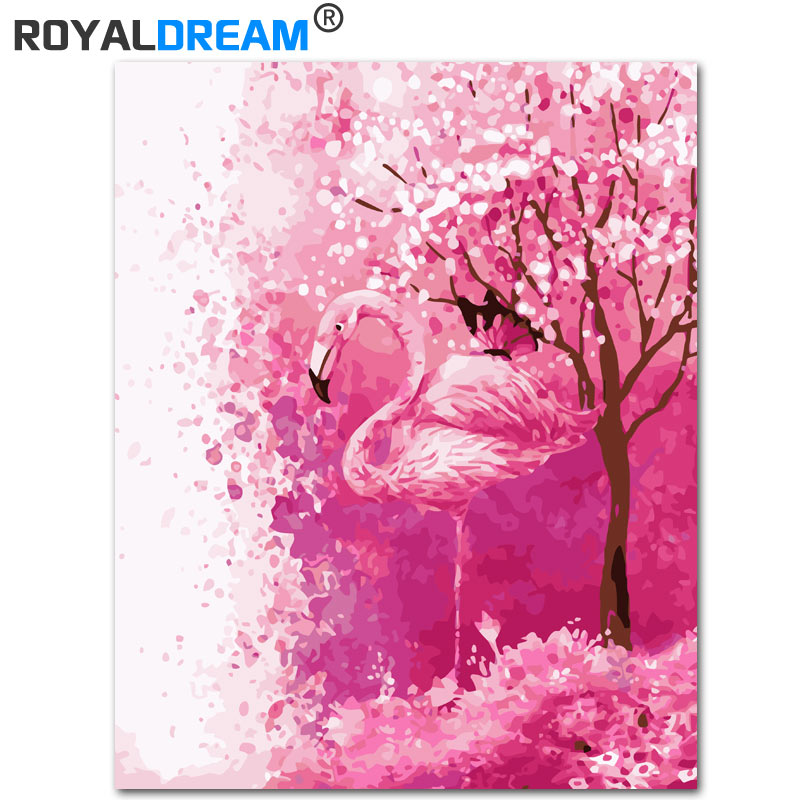 16x20/'/' Cool Flamingos Diy Paint By Number Kit Acrylic Painting on Canvas Framed