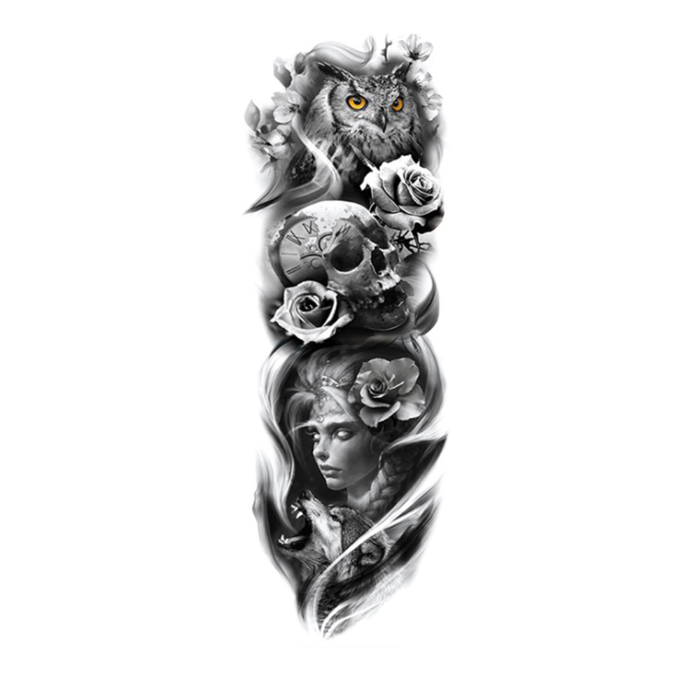 Waterproof Temporary Tattoo Sticker Skull With Mask Girl Body Art Full Arm Large Size Sleeve Tatoo Army Warrior For Men Women