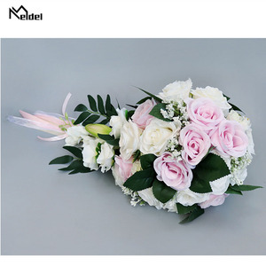 Image 3 - Meldel Bride Waterfall Wedding Bouquet Bridesmaid Wedding Flower Vintage Rose Flower Marriage Party Supplies Luxurious Bouquet